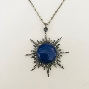 Jewelry - Pave Diamond Lapis Star Pendant Necklace